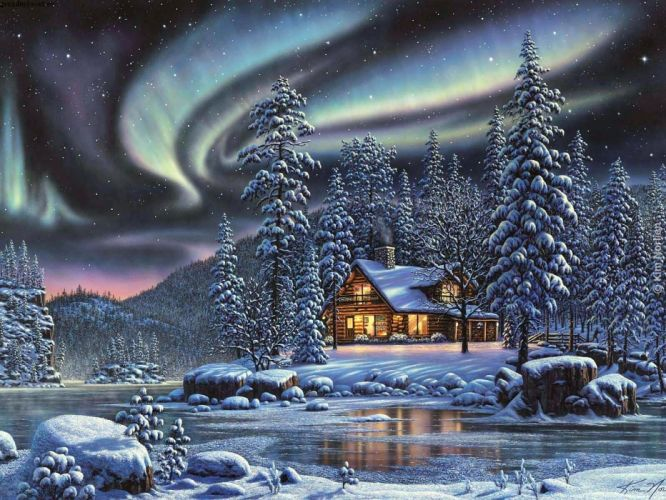 Kim-Norlien fantasy sci-fi artistic art landscapes nature winter seasons holidays christmas snow skies stars aurora stars trees forest scenic colors wallpaper