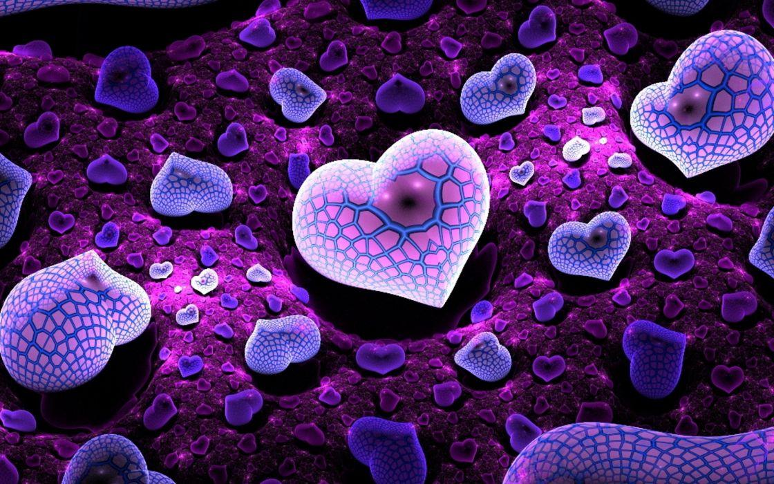 abstract fractal purple heart 3d cg digital-art wallpaper