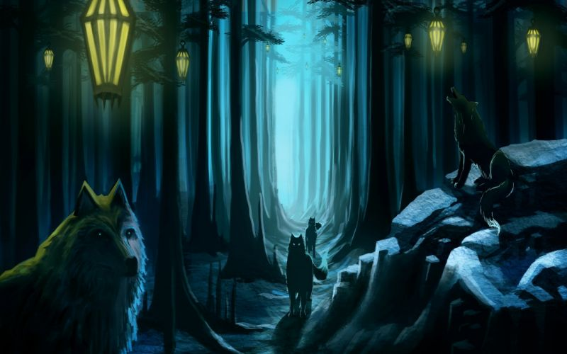 artistic animals wolves wolf fantasy dark spooky lamps lights nature trees forest pathway magical wallpaper