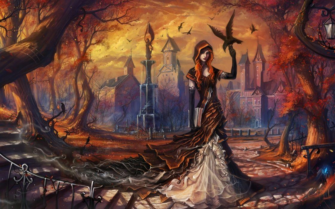 fantasy dark gothic witch women females girls raven crow birds artistic trees autumn fall seasons creepy spooky halloween architecture buildings wallpaper