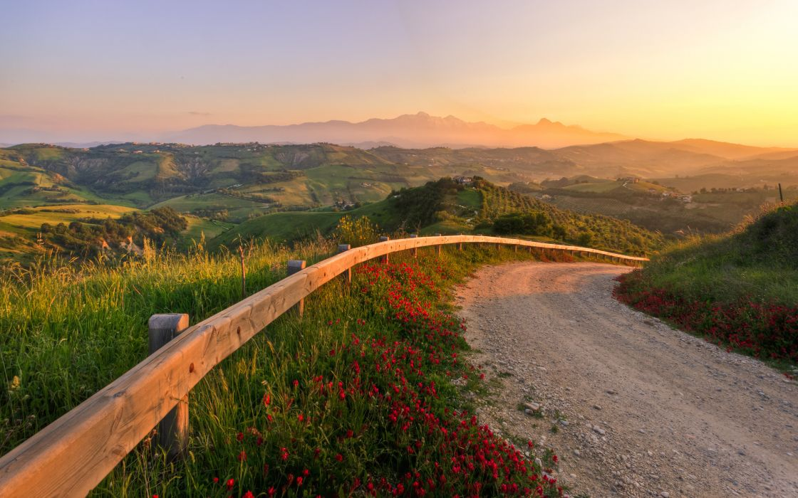 landscapes nature roads cities scenic sunset sunrise fence mountains skies sunlight flowers wallpaper