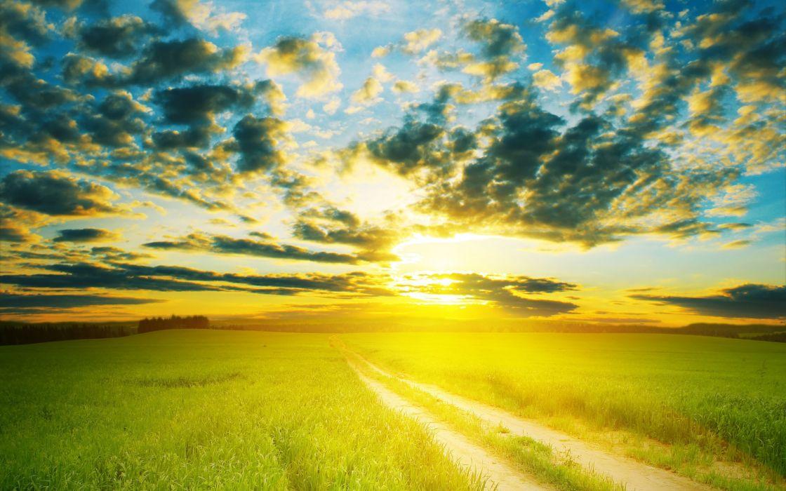 manipulation landscapes nature sunset sunrise fields skies clouds sun sunlight roads wallpaper