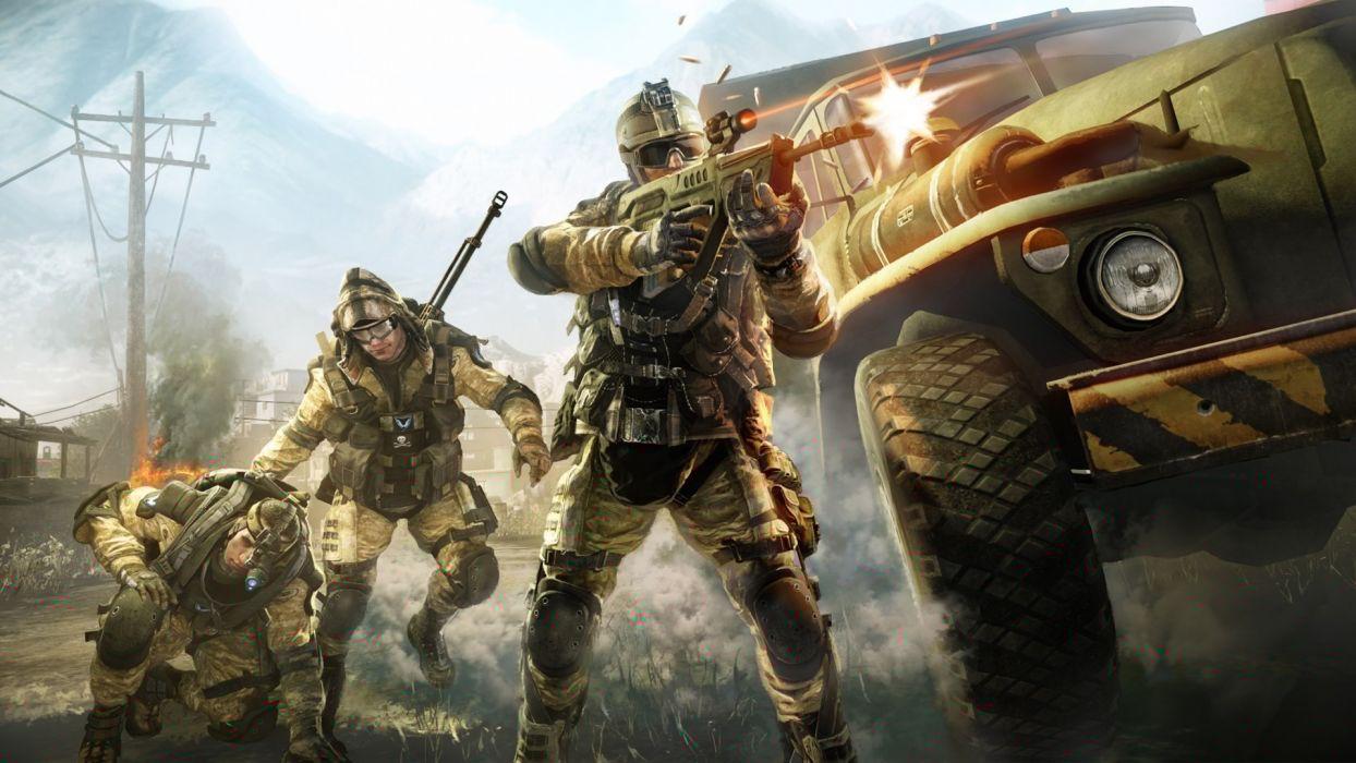 warface military soldiers warriors weapons guns explosions shooting vehicles trucks video-games battles war wallpaper