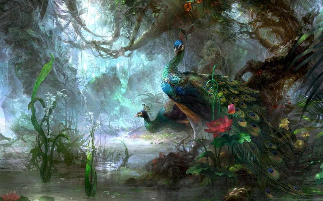 fantasy artistic paintings trees forest landscapes birds animals magical peacock jungle lake pond water moss flowers wallpaper
