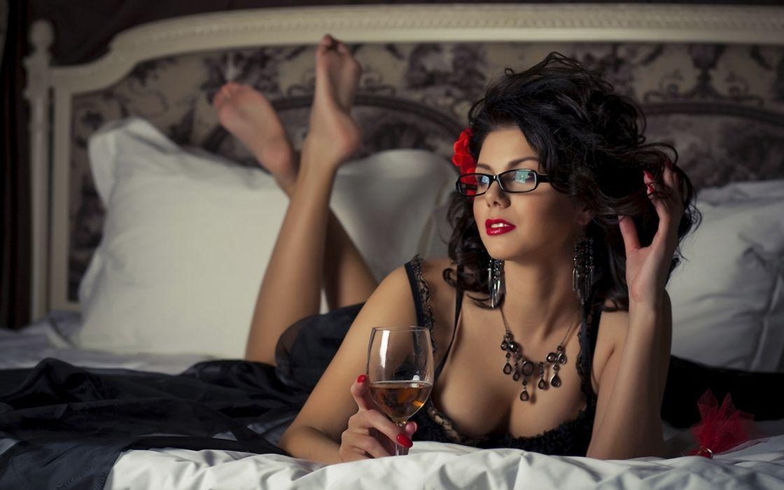 women females girls babes models sexy sensual brunette wallpaper