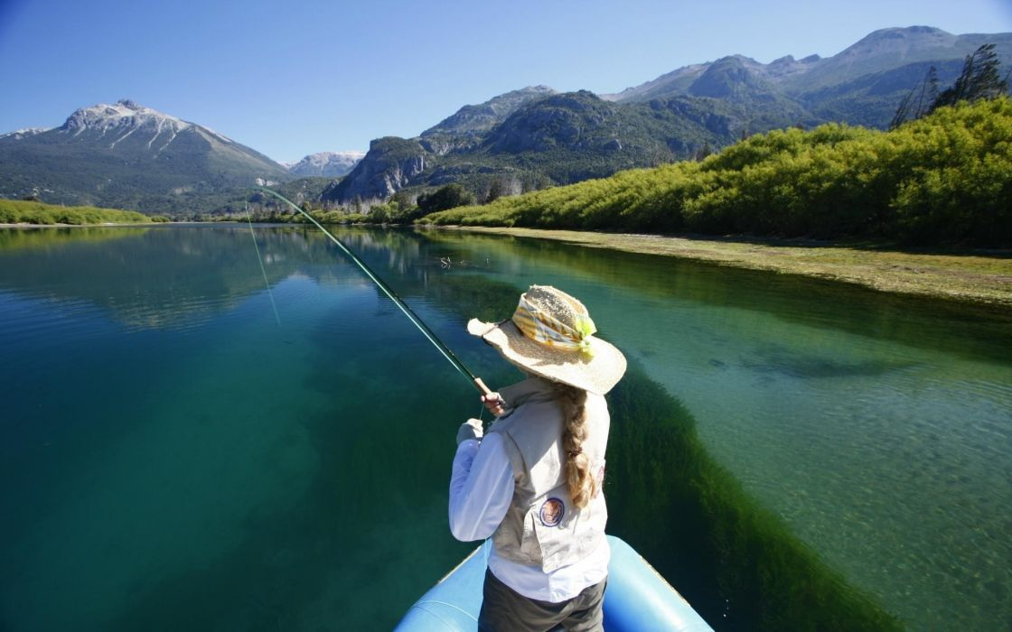 sprts fishing landscapes lakes rivers boats mountains mood people women females girls wallpaper