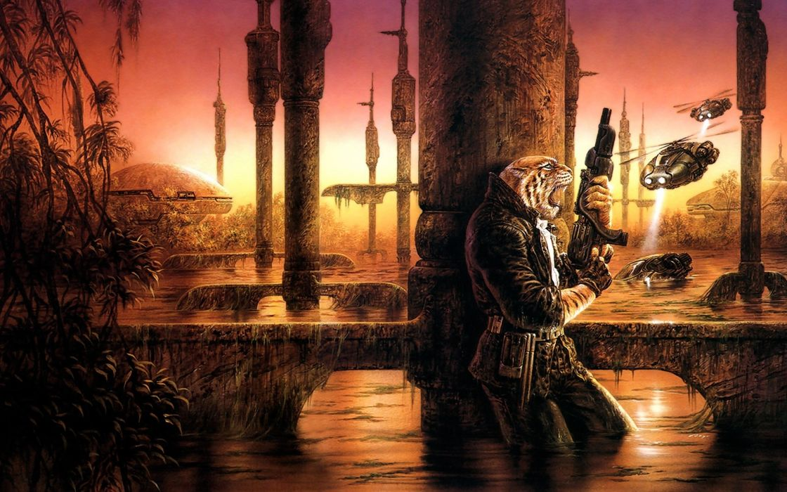 Luis-Royo Royo fantasy sci-fi tiger weapons futuristic alien-world battles guns colors architecture buildings wallpaper