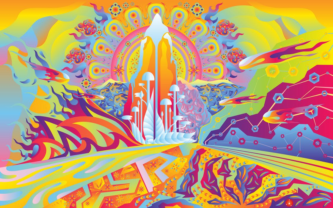 artistic psychedelic colors fantasy sci-fi landscapes wallpaper