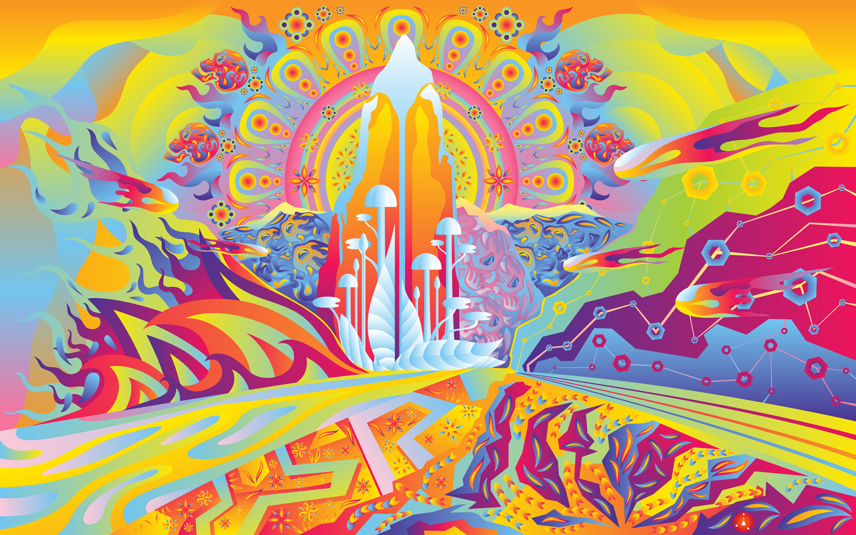 Artistic psychedelic colors fantasy sci-fi landscapes ...