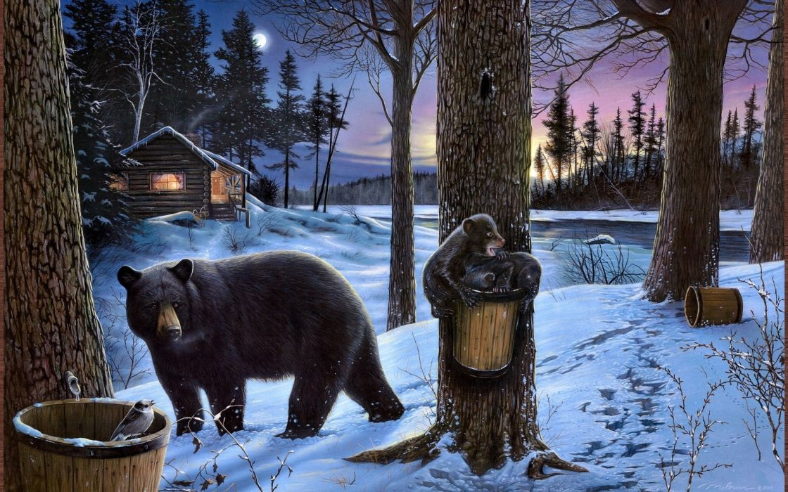 Ervin-Molnar Molnar paintings artistic landscapes nature winter trees night lights evening animals bears snow seasons cub babies wallpaper