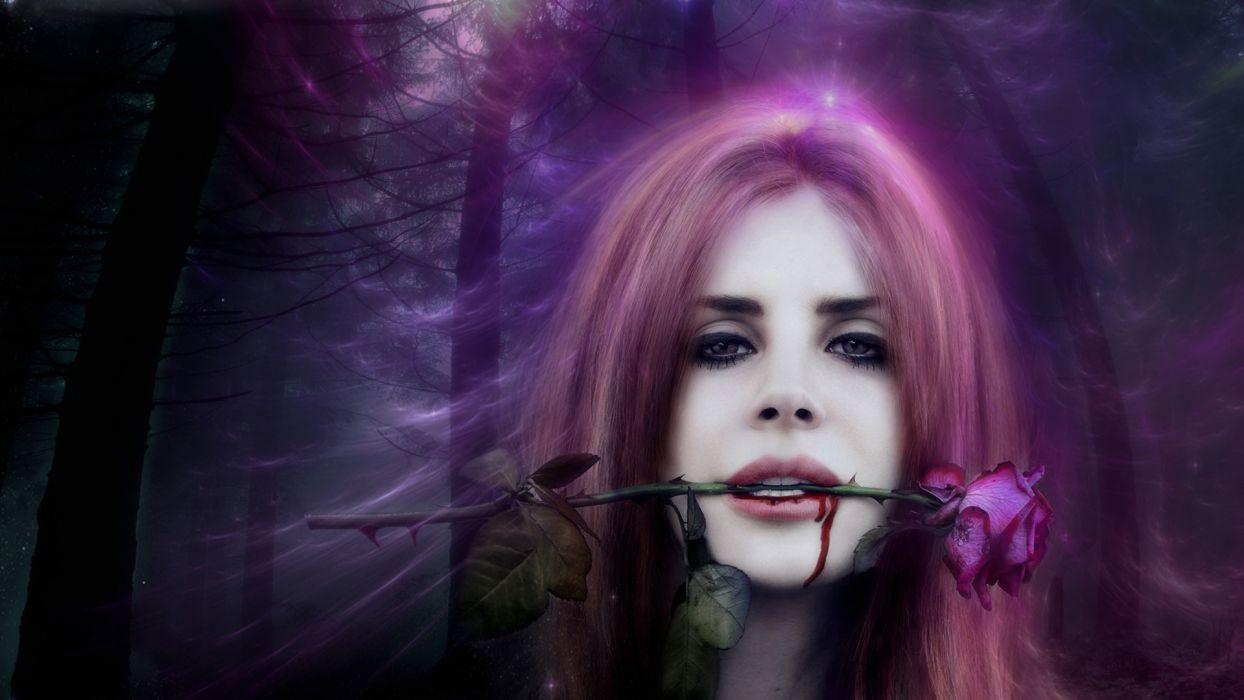 Lana-Del-Rey women females girls face models actress celebrities vampires fantasy gothic dark wallpaper