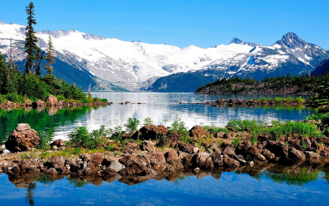 landscapes nature mountains lakes reflection snow  wallpaper