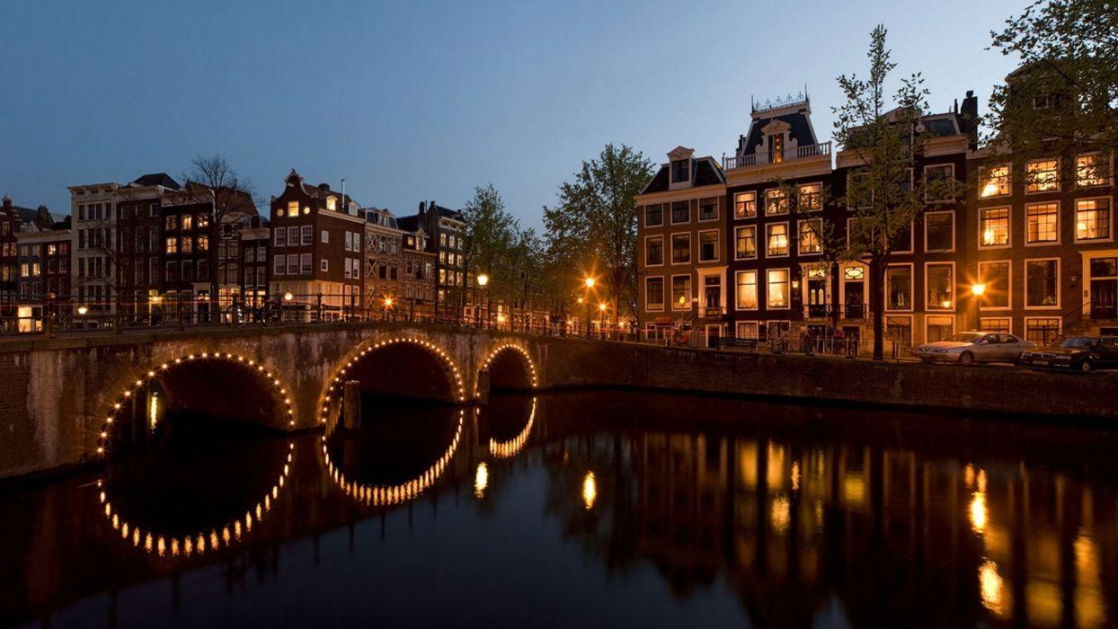 cities architecture buildings bridges reflection night lights wallpaper