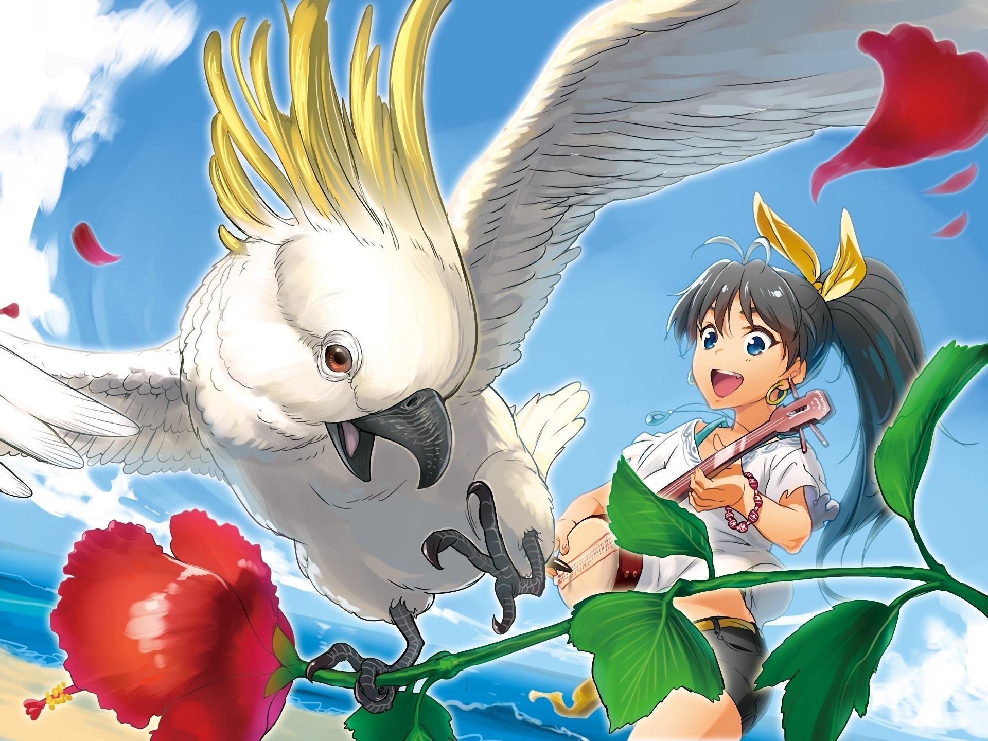 Idolmaster birds parrot girls colors guitar music flowers ...