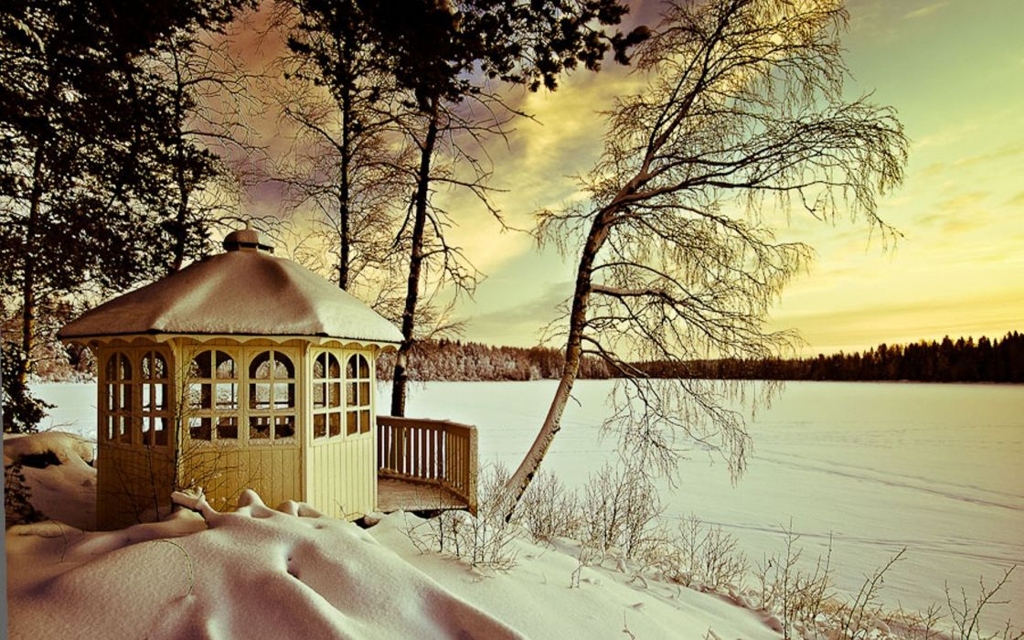 landscapes nature winter seasons snow lakes trees architecture buildings pagoda wallpaper