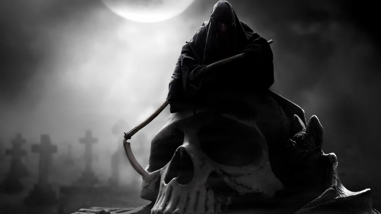 dark reaper grim-reaper skull weapons scythe graveyard cemetary fantasy death wallpaper