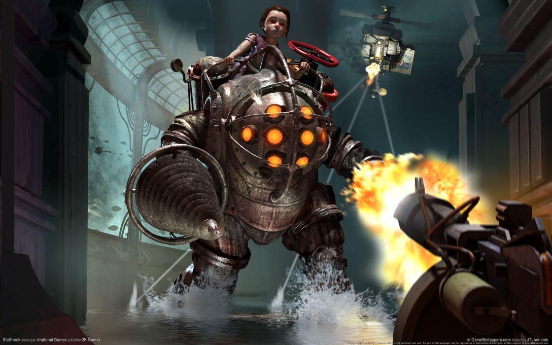 bioshock video-games robot cyborg warriorfire flames weapons guns girls dark  wallpaper
