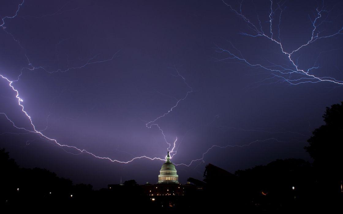 architecture buildings night lights storm rain lightning wallpaper