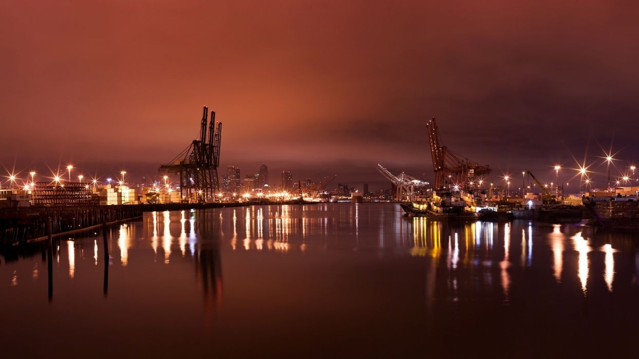 night lights port cranes tower photography water watertway reflection rivers places shine skies clouds cloudy wallpaper