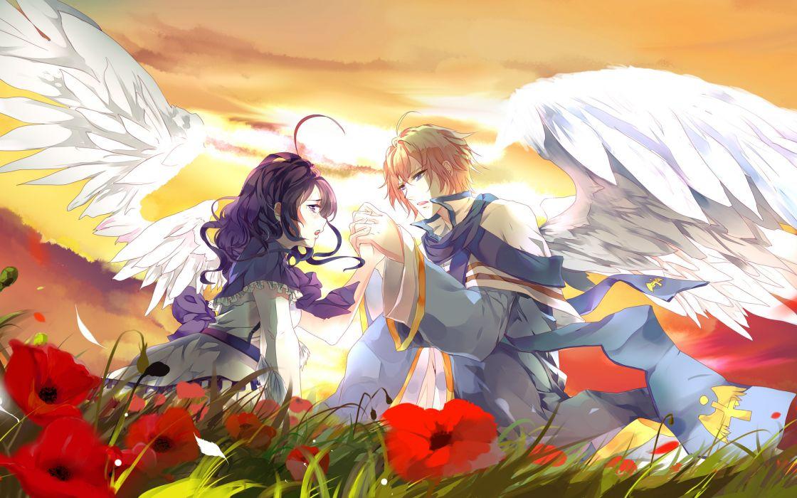 angels wings girls colors flowers love romance mood emotion wallpaper