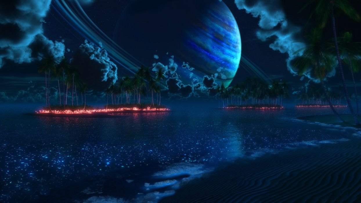 sci-fi cg digital-art manipulation fire flames lakes nature islands jungle trees forest blue skies moon planets clouds moonlight artistic surreal wallpaper
