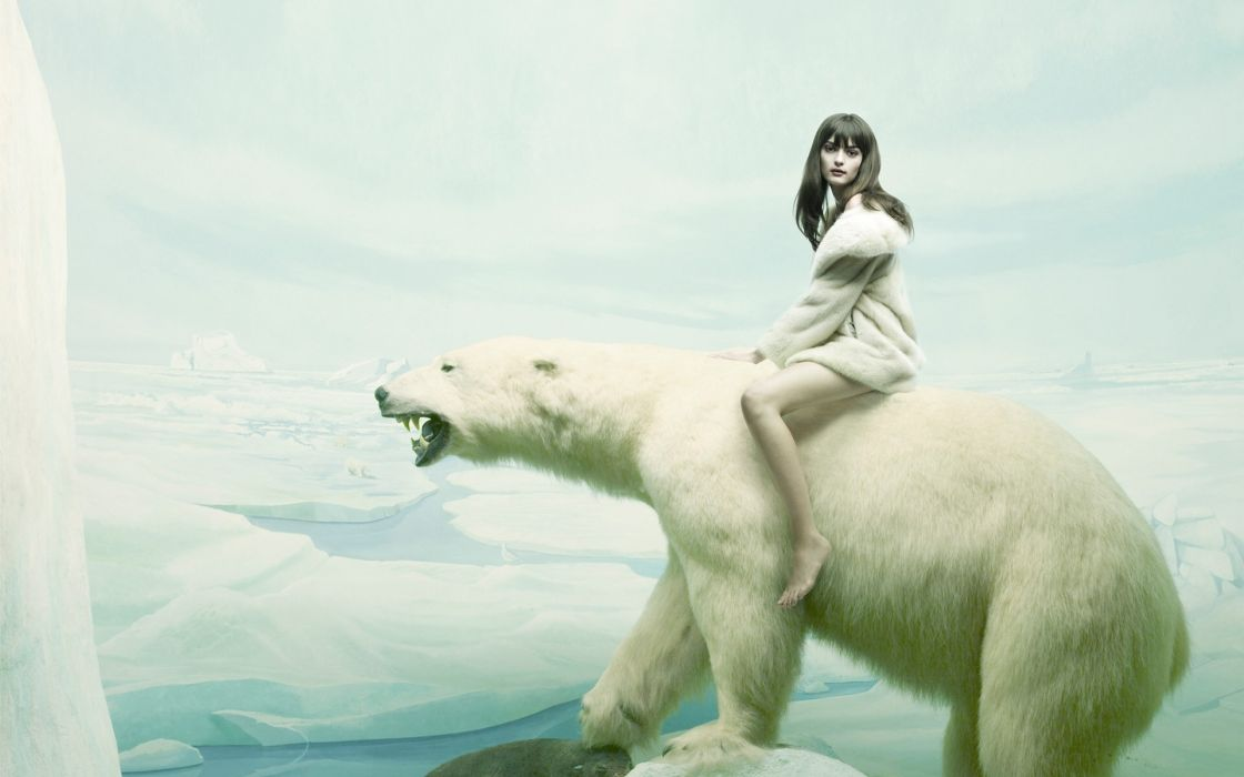 Erik-Almas manipulation cg digital-art artistic fantasy situation animals bears polar-bears polar winter snow artic women females girls babes sexy sensual legs wallpaper