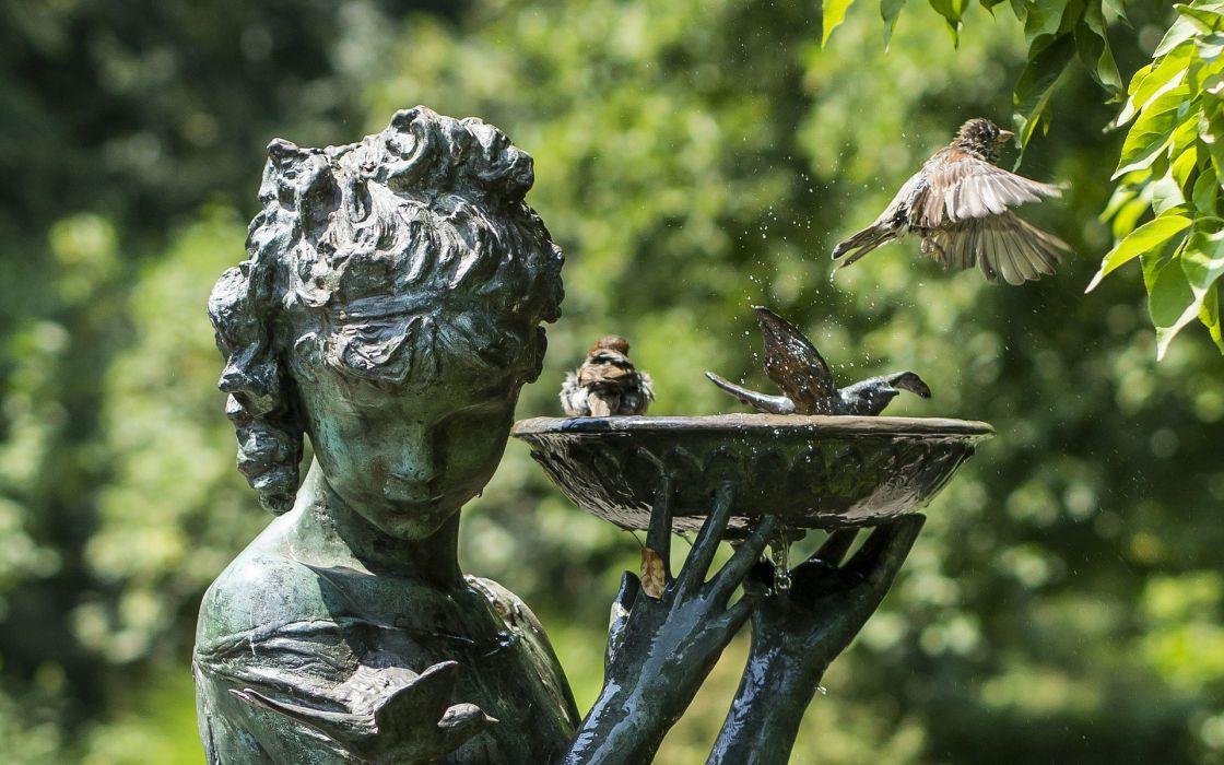 statue gothic park metal bronze artistic photography animals birds green flight fly flying wallpaper