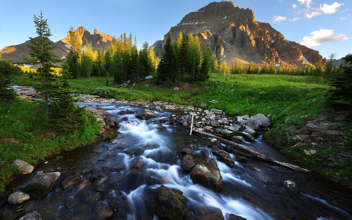 mountains rivers rocks meadow trees skies wallpaper