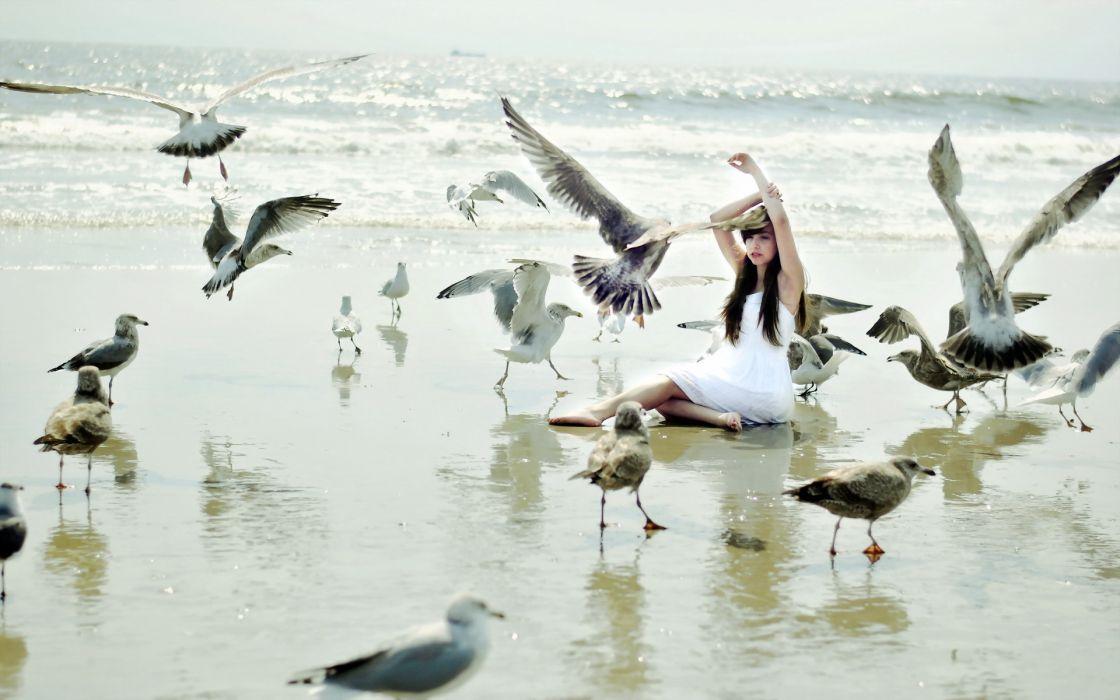 animals birds seagull women females girls babes sensual mood situation emotion nature beaches ocean sea sand waves wallpaper