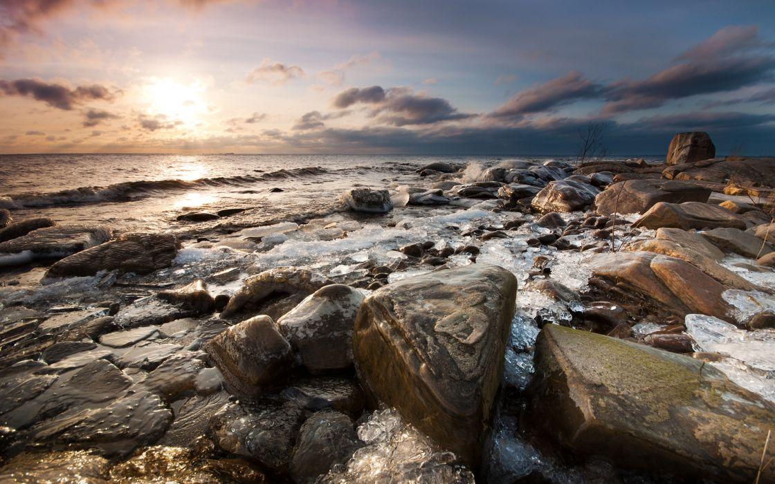 seascapes ocean sea rocks sunset sunrise waves shore skies clouds wallpaper