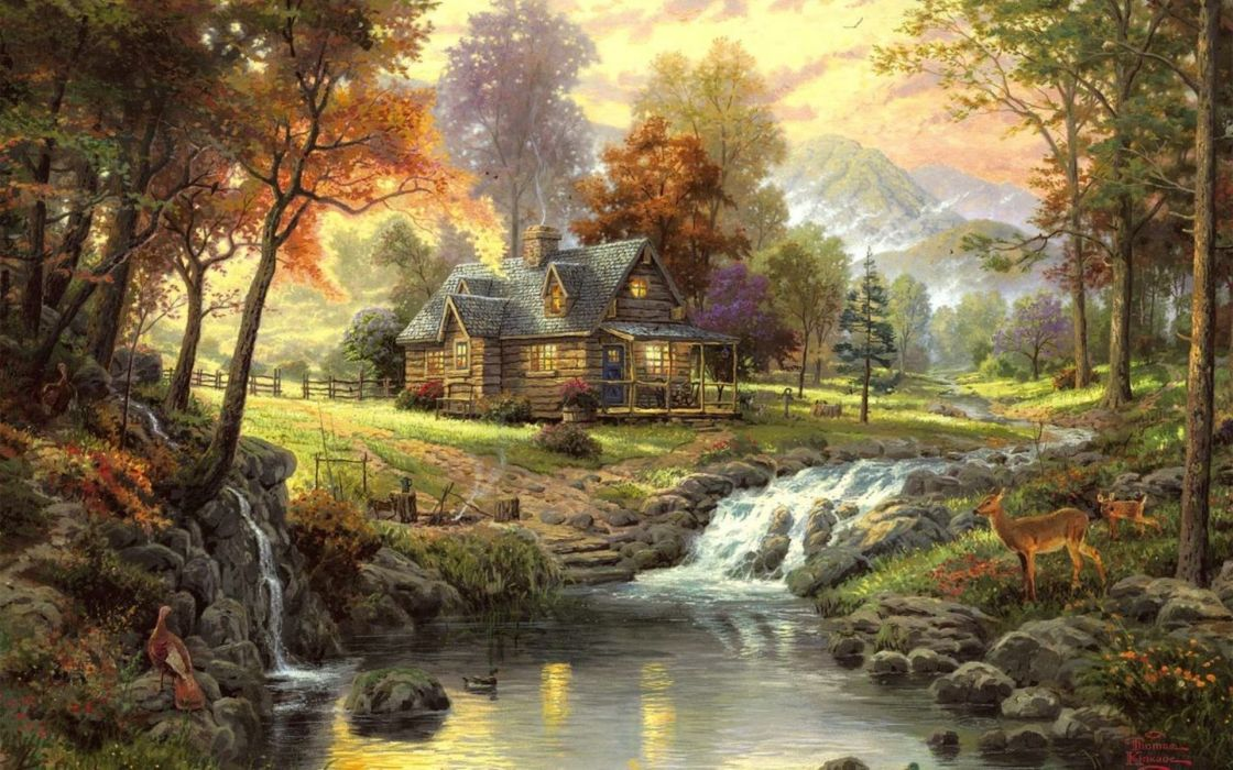 thomas-kinkade paintings nature landscapes trees autumn fall seasonal rivers animals deer waterfalls architecture houses artistic mountains wallpaper