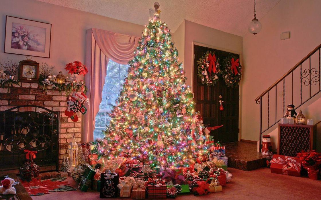 decoration seasonal lights houses festive wallpaper