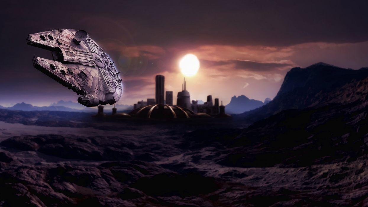 sci-fi spaceship spacecraft star-wars wars cities planets Millennium-Falcon Millennium Falcon games wallpaper