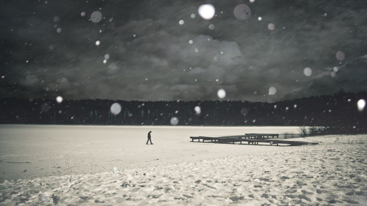 landscapes nature people men males mood situation snow snowing snowflakes alone emotion manipulation wallpaper
