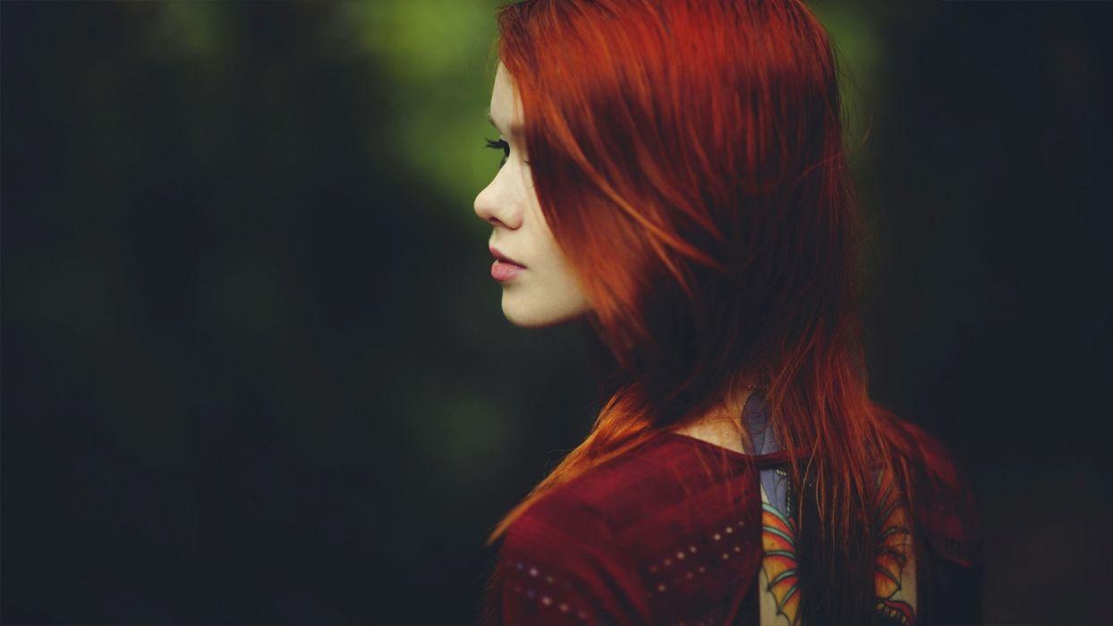 gothic women females girls babes models sensual tattoo redhead wallpaper