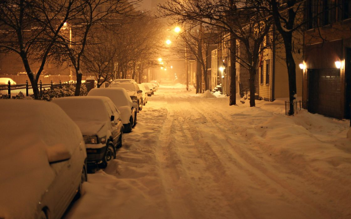 snow roads places vehicles cars winter seasonal night lights snowing wallpaper
