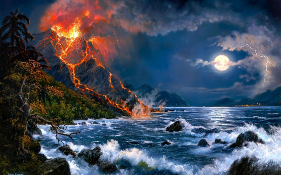 landscapes volcano fire flames lava jungle trees forest seascape ocean sea waves night moon moonlight skies clouds artistic paintings airbrushing cg digital-art fantasy wallpaper