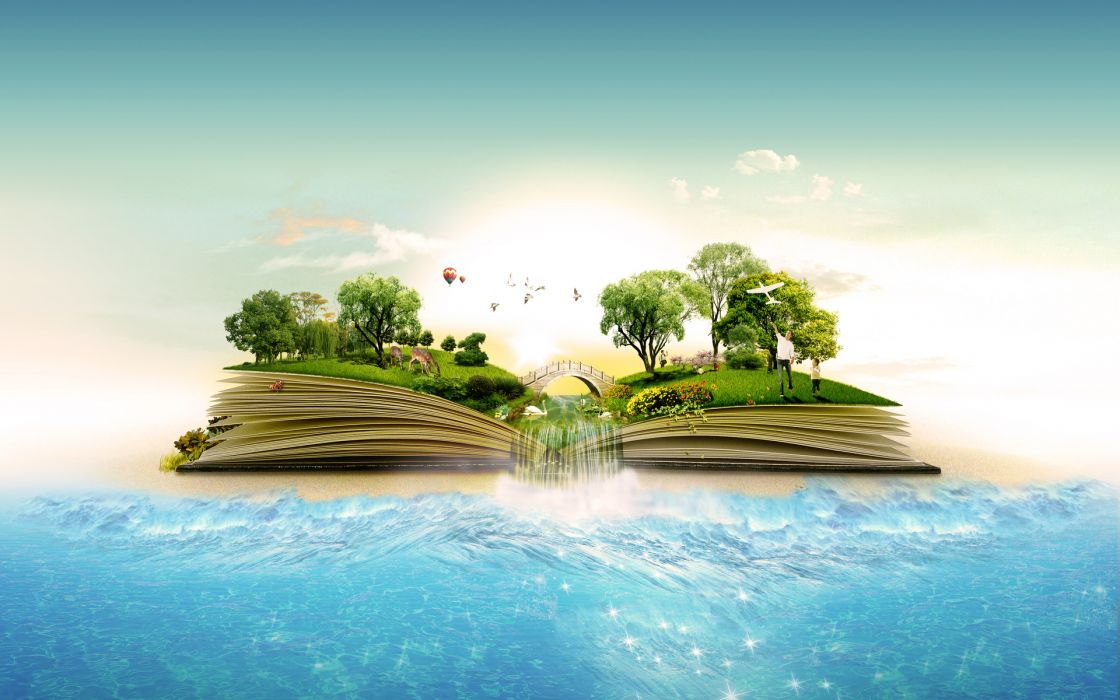 manipulation landscapes islands books nature trees forest jungle birds waterfall ocean sea water artistiv tropical surreal wallpaper