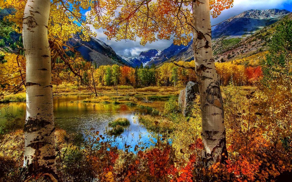 autmn fall seasons lakes leaves reflection mountains colors hdr wallpaper