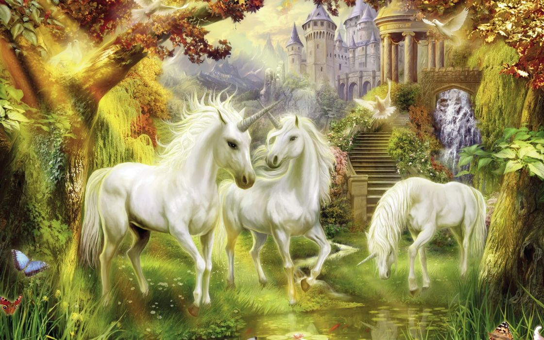 thomas-kinkade fantasy unicorn magical architecture buildings trees forest paintings horses artistic flowers wallpaper