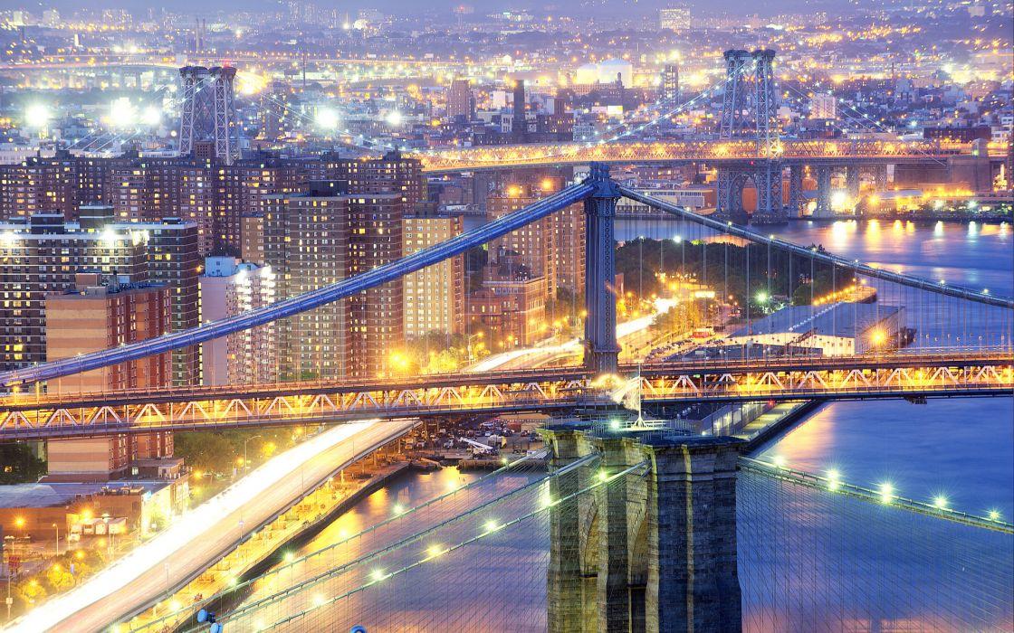 New-York york USA Bridges brooklyn manhattan night lights exposure architecture buildings skyscrapers bridges night lights hdr cityscape waterway water  wallpaper
