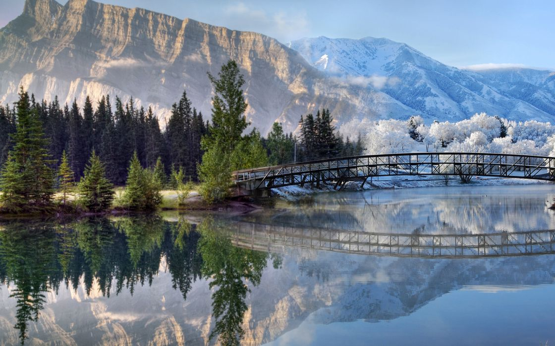 landscapes mountains lakes rivers reflection trees forest water snow winter architecture bridges wallpaper