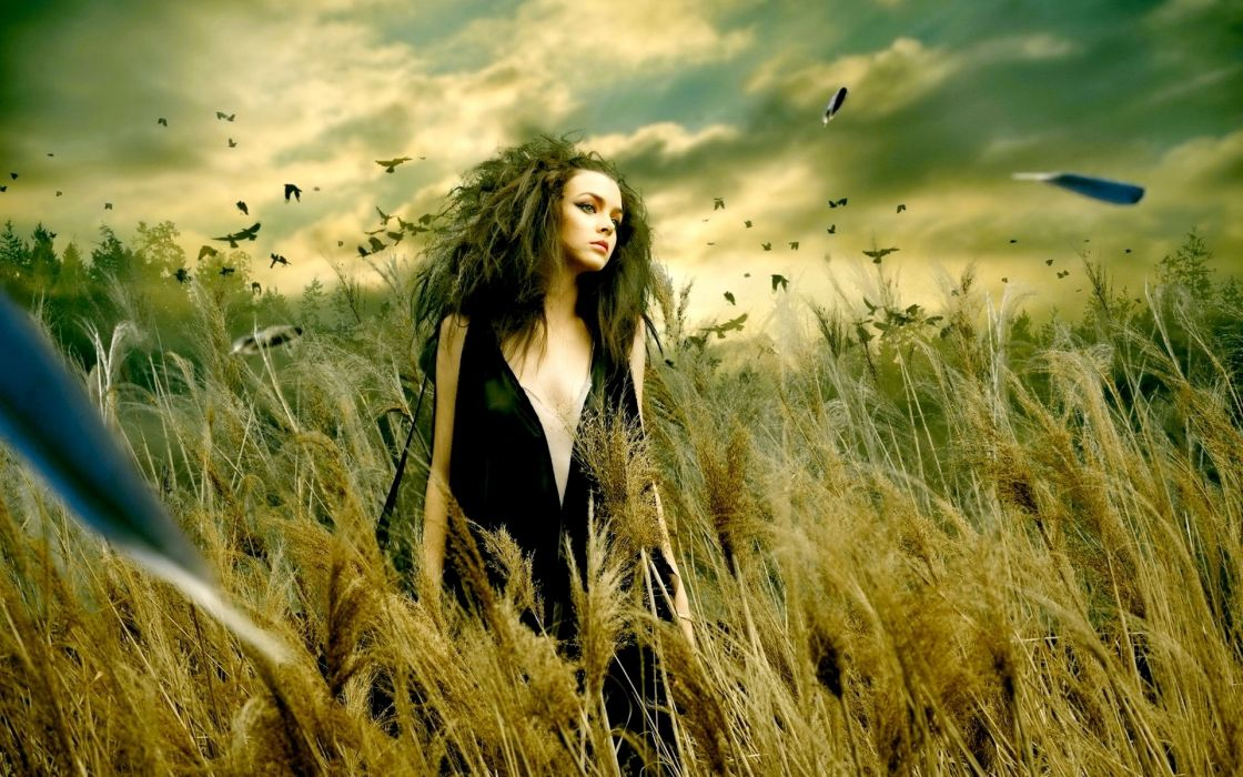 manipulation cg digital-art landscapes nature feathers grass fields skies clouds women feamles girls sexy sensual mood emotion gothic fantasy wallpaper