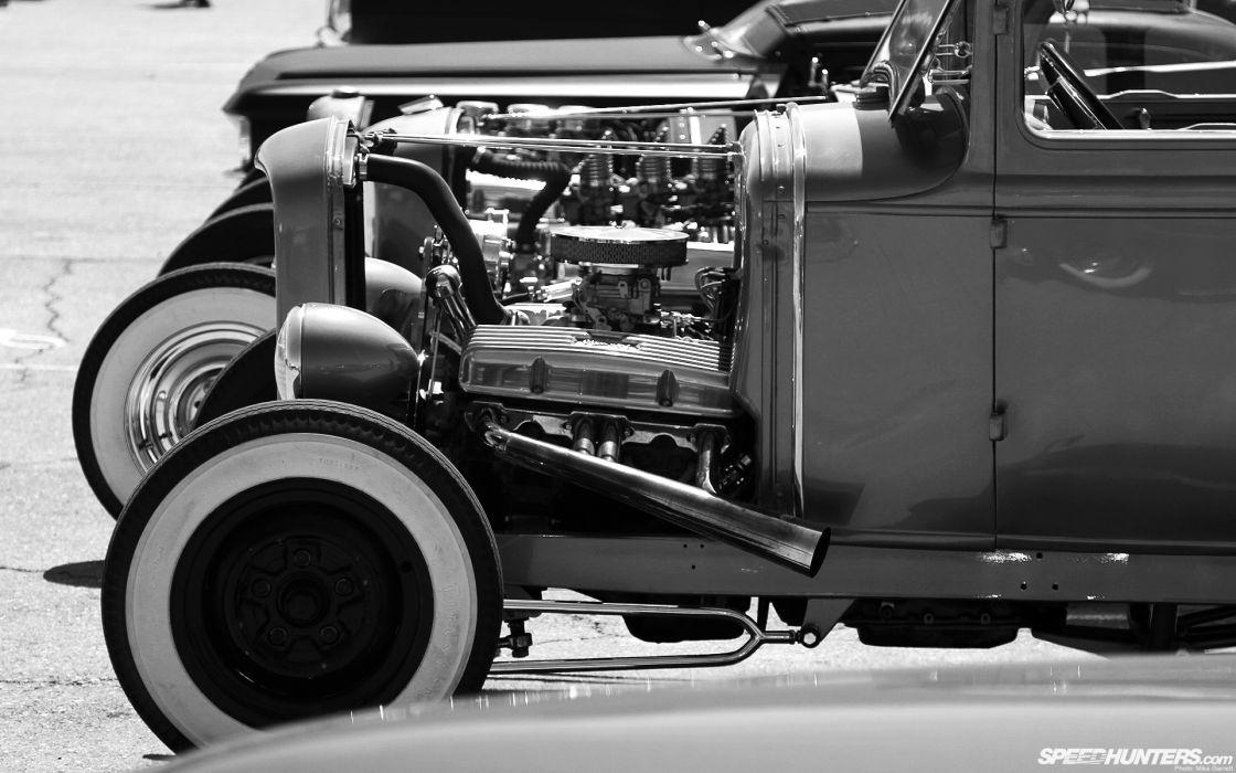 hot-rod rod hot rat-rod rat classic engines black white b/w wallpaper