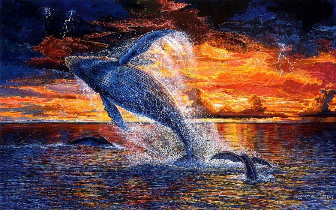Robert-Lyn-Nelson paintings artisticanimals whales colors fly flight flying sunset nature ocean sea skies clouds wallpaper