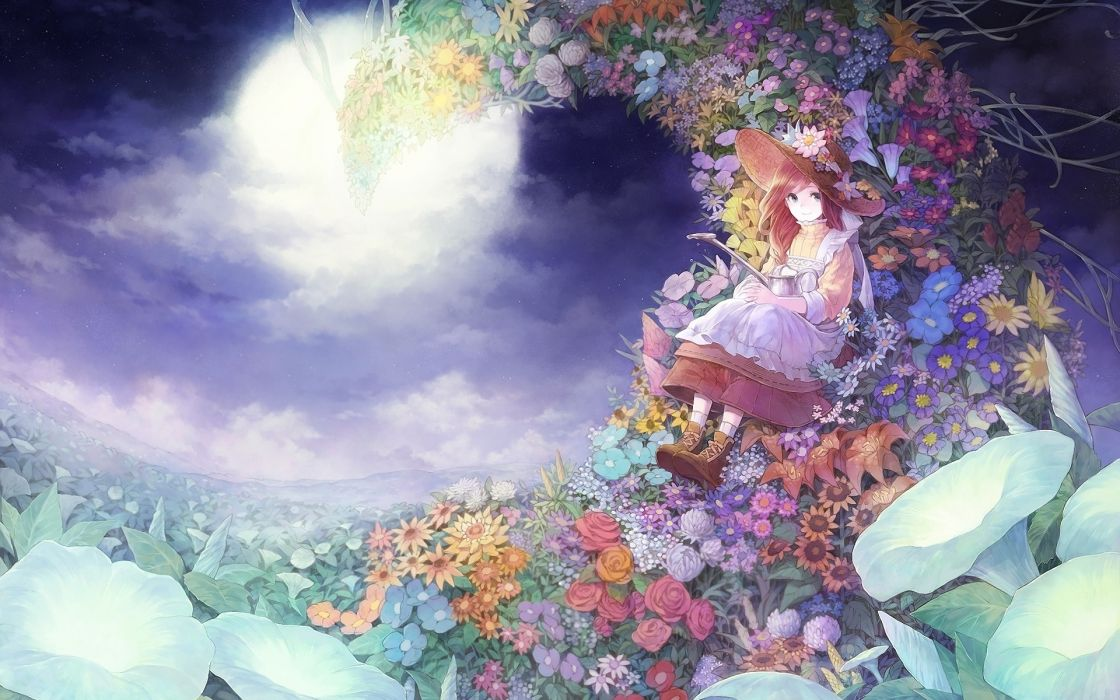 Russel Dress Female Field Flower Flower Field Full Moon Hat Hat Flower Long Hair Looking At Camera Moon Mountains Night Night Sky Red Hair Ribbon Rose Sitting Sky Smile Solo Water Original Source Pixiv wallpaper