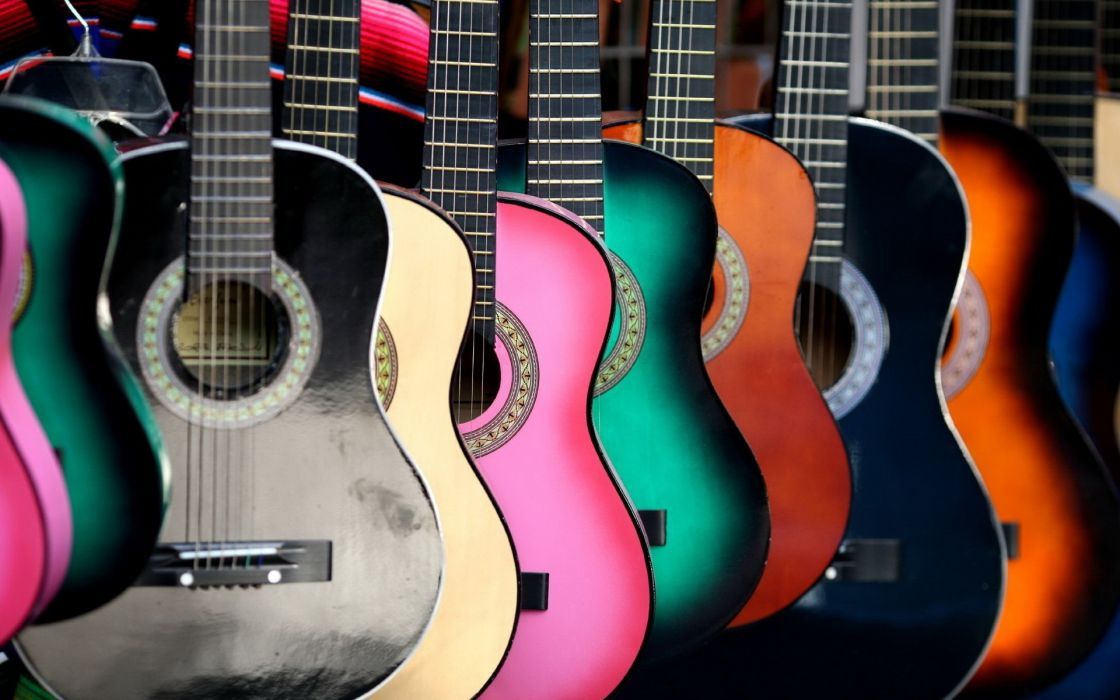 guitars colors strings photography wallpaper