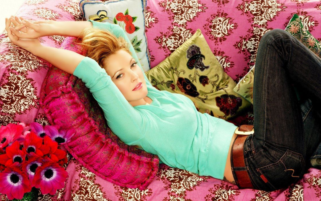 Drew Barrymore Drew-Barrymore celebrities actress colors women females girls babes blonde sexy sensual wallpaper