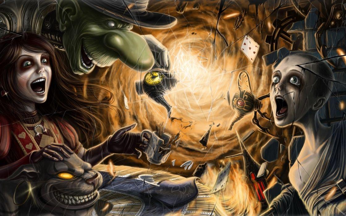 alice-madness-returns alice madness returns dark spooky creepy demons monsters evil horror macabre girls video-games wallpaper
