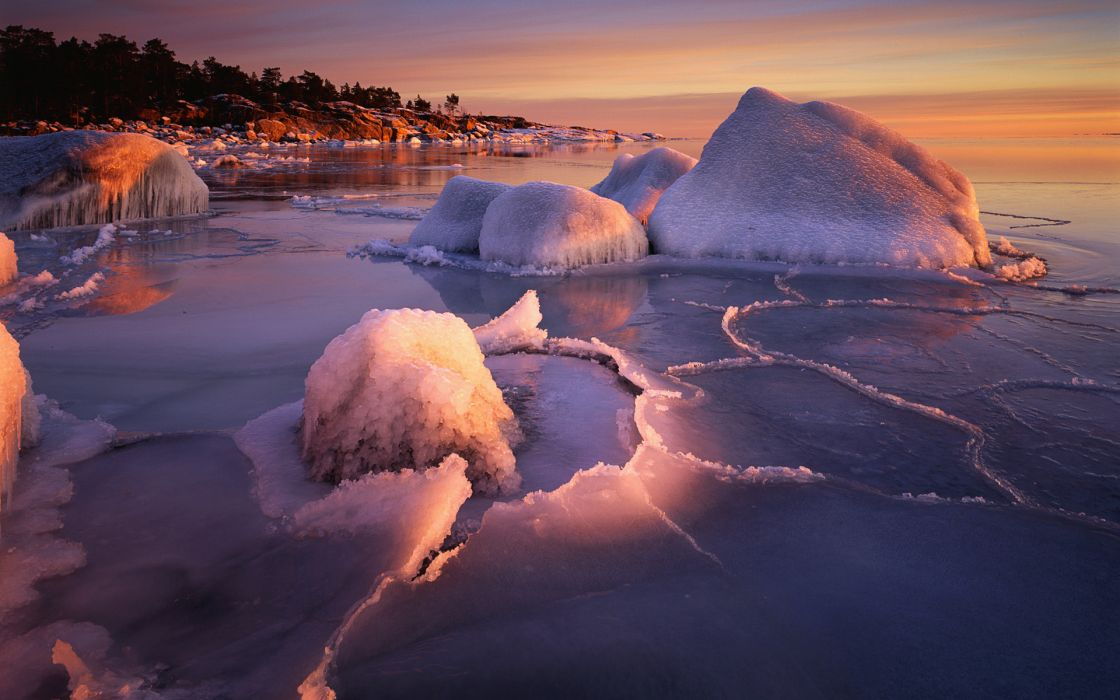 winter ocean sea lakes shore coast nature sunset sunrise ice iceberg frozen skies water wallpaper
